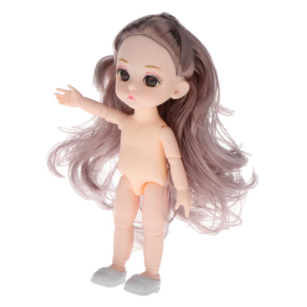 2pc adorable 1/12 cuerpo de la muñeca 13 de articulación esférica 3D Ojos de DIY que hace juguete