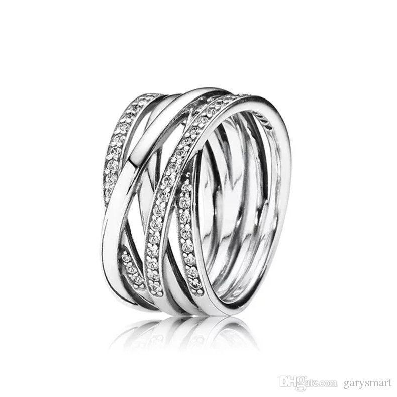 Nuevo 100% de 925 anillos de plata esterlina con el Zircon cúbico cuadro original Para la manera del anillo de Pandora para San Valentín Día estilo europeo joyería