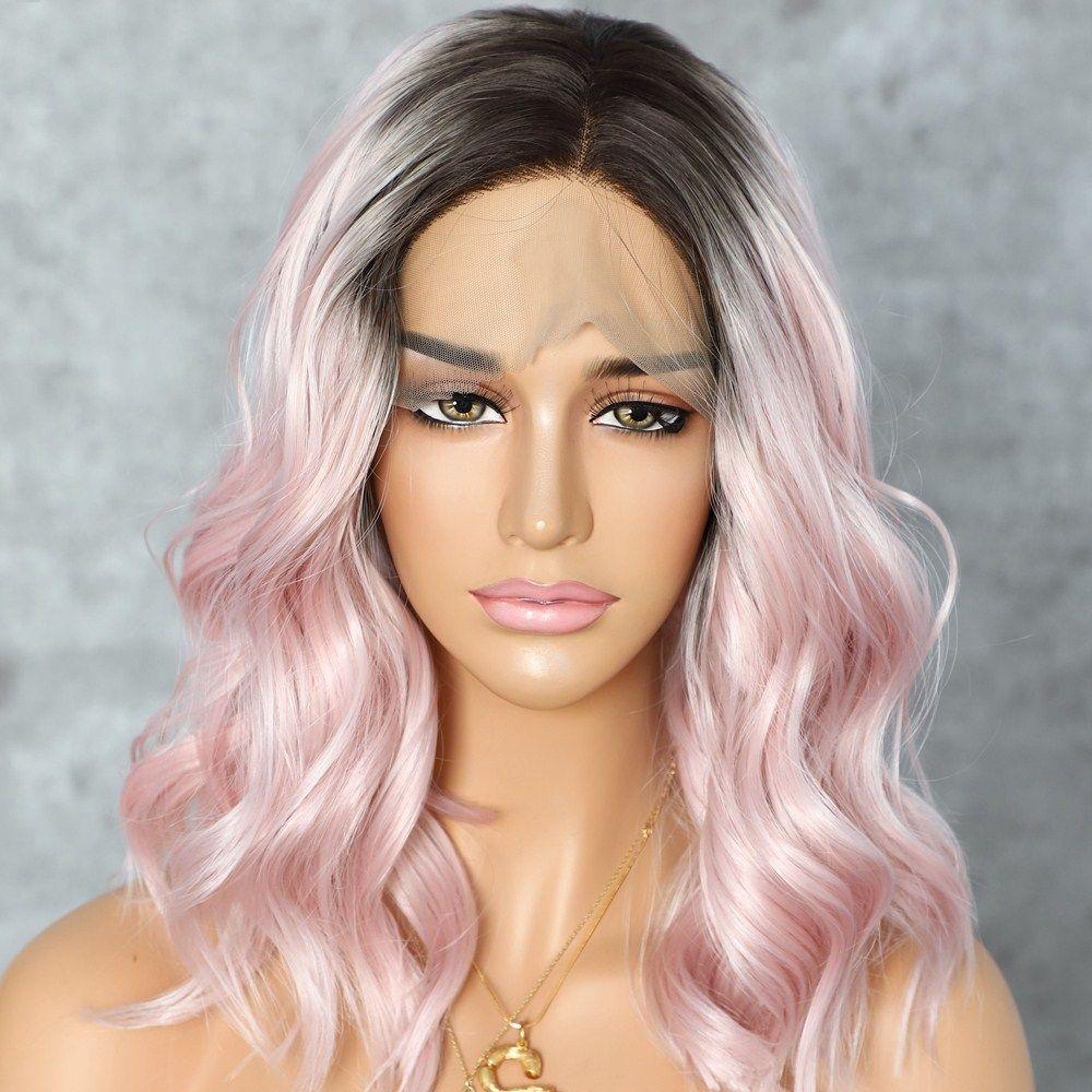Kurzwellenförmige Synthetic Lace Front Perücken Dunkle Wurzeln Ombre rosa Hitzebeständige Haar Cosplay Perücke für Frauen