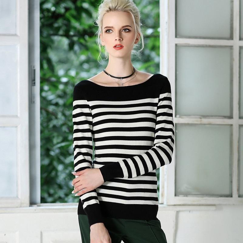 Pop2019 European Suit-dress One Word Lead Long Sleeve Sweater Slim Thin And Thick Money Rendering Unlined Upper Garment