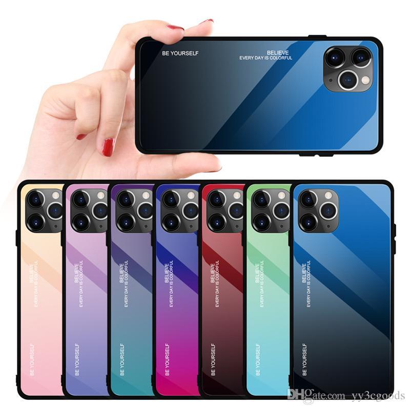 DHL Iphone11 حالة الهاتف المحمول التدرج جديد قضية الزجاج لشركة آبل 11 الغطاء الواقي العرف الإبداعي