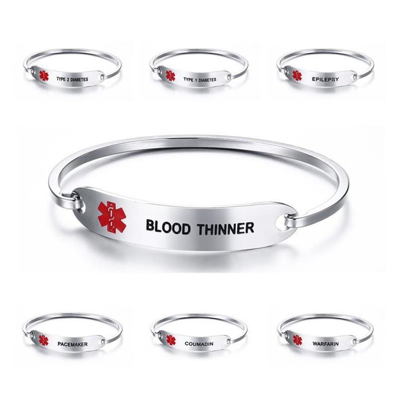 Alerta ID pulseras de acero inoxidable grabado sangre delgada brazalete brazaletes pulsera para mujer joyería
