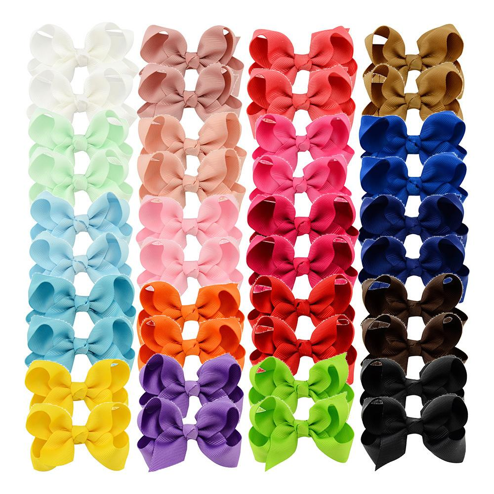 "3"" Small Hair Bows With Alligator Clips 20 Pairs Hand-made Solid Fabric Ribbon Bows Kids Hair Pins Little Girls Hair Accessories Y19052003"
