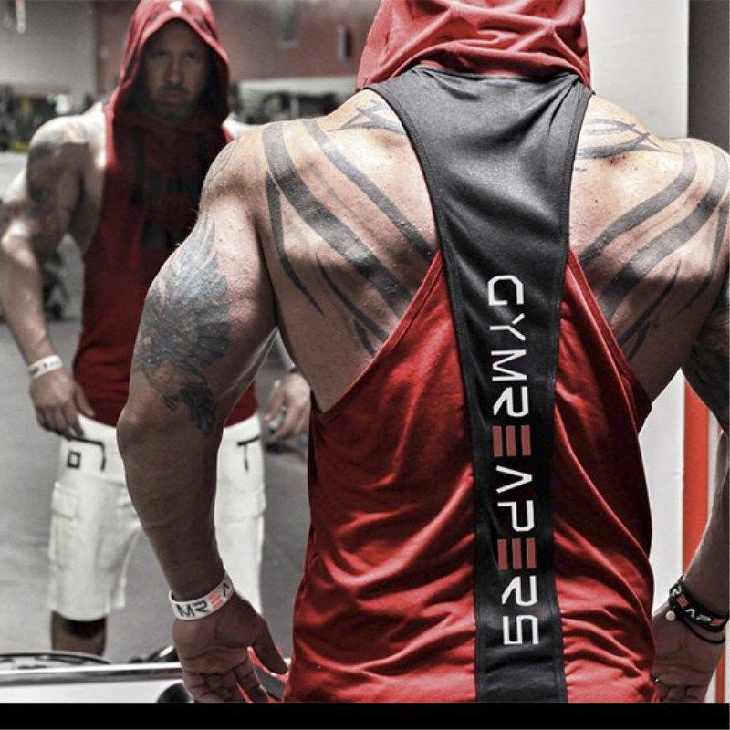 T-shirt Designer Ginásio Mens Muscle Men Vermelho preto sem mangas Regatas T-shirt Hoody Sports Academia Vest Outerwear Atacado