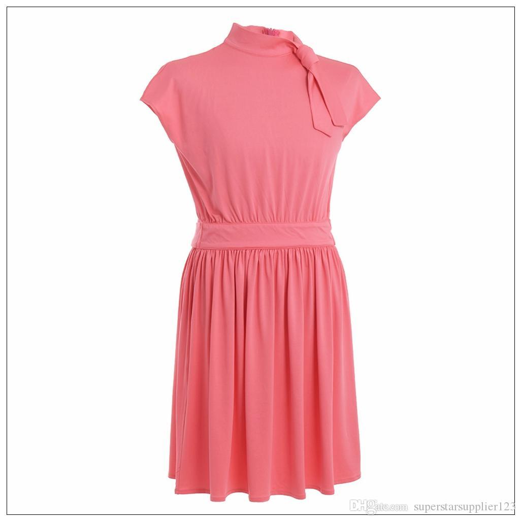 Vestido midi plisado con cuello de lazo elegante vintage para mujer Vestidos rosados de manga corta suaves y cómodos Envío rápido