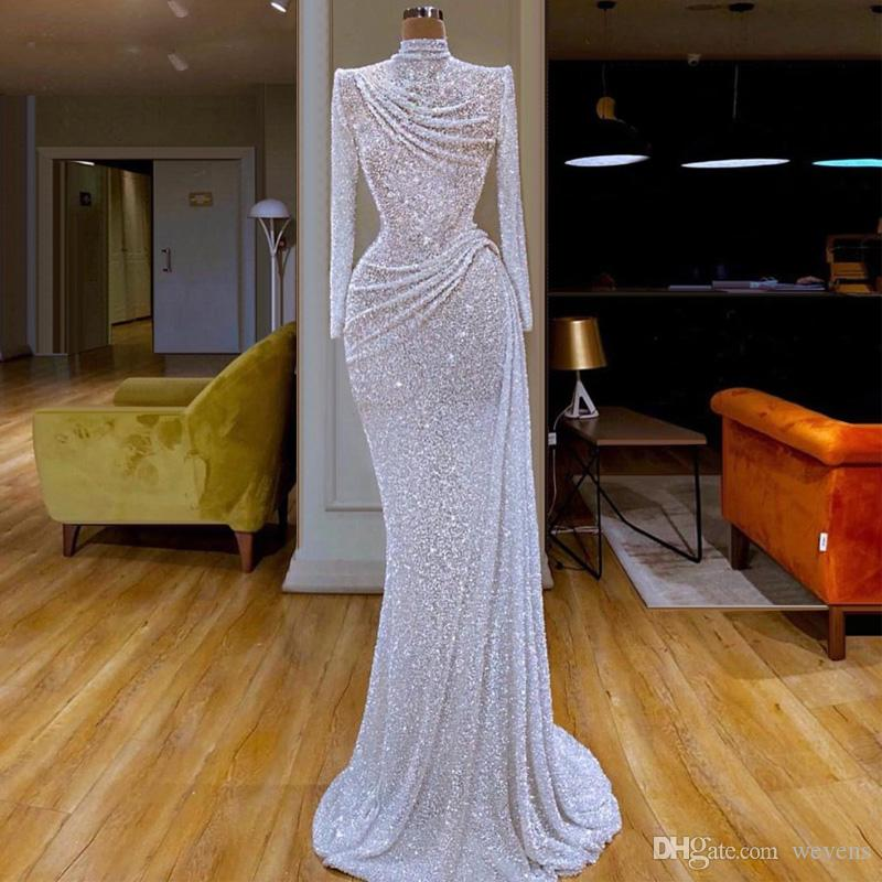 White Glitter lantejoulas sereia Vestidos alta Long Neck Sleeve Ruched vestidos de festa Formal Wear Trem da varredura Longo Prom Vestidos