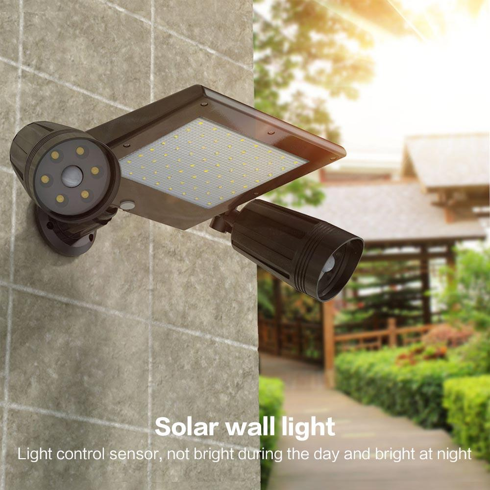 BRELONG Solar Garden Light LED Body Sensor Outdoor Waterproof Double Head Projection Wall Light 1 pc