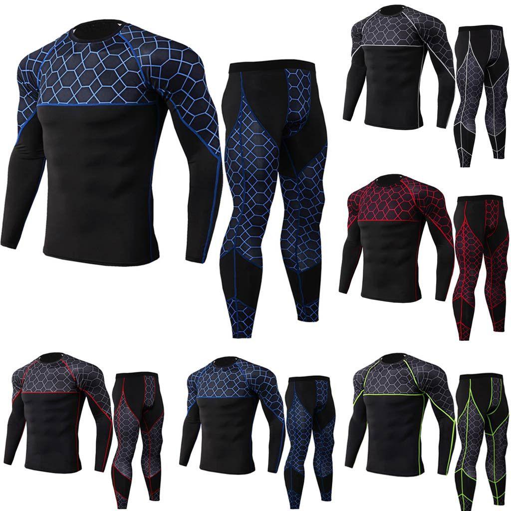 Kit Kamuflaj sweatshirt + Tozluklar Spor Termal Underwears Erkekler Sıkıştırma Long'un kollu T Gömlek için 2 Adet Eşofman