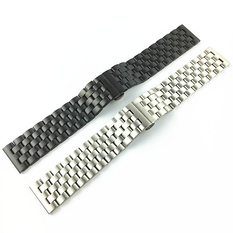 Five-bead stainless steel solid watch with double button butterfly buckle 18mm matte 20mm brushed 22mm matte 24mm
