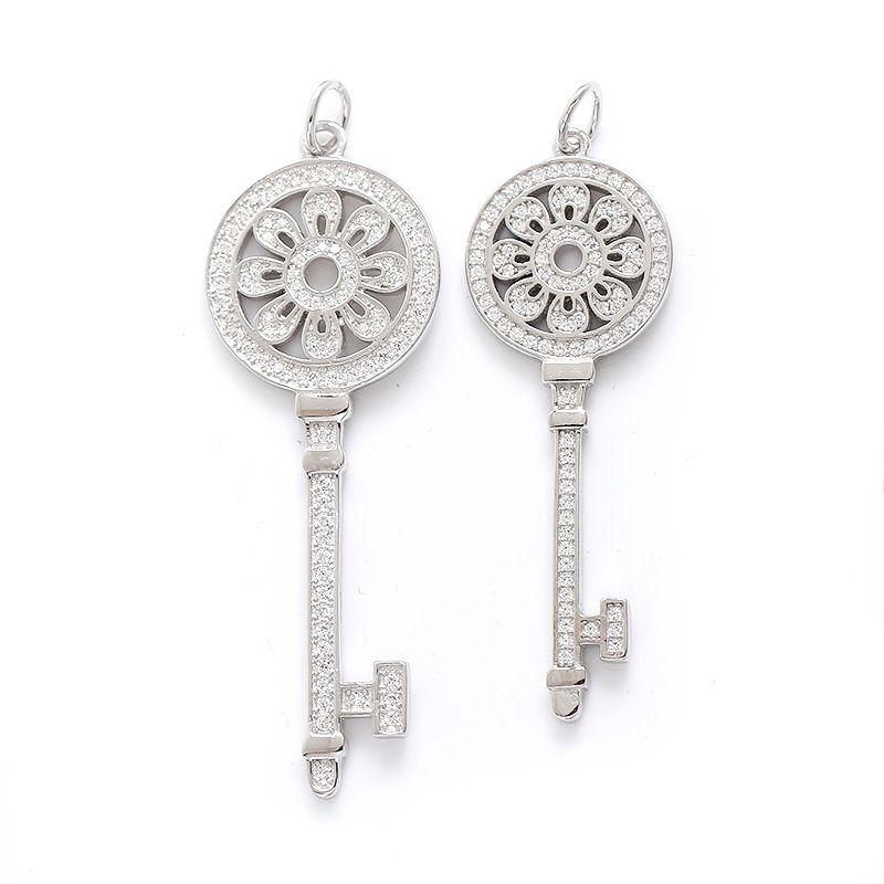 S925 clés en argent sterling Pétales Collier clé pendentif avec diamants 100% Argent 925 Colliers Meilleur cadeau Saint-Valentin pour les femmes