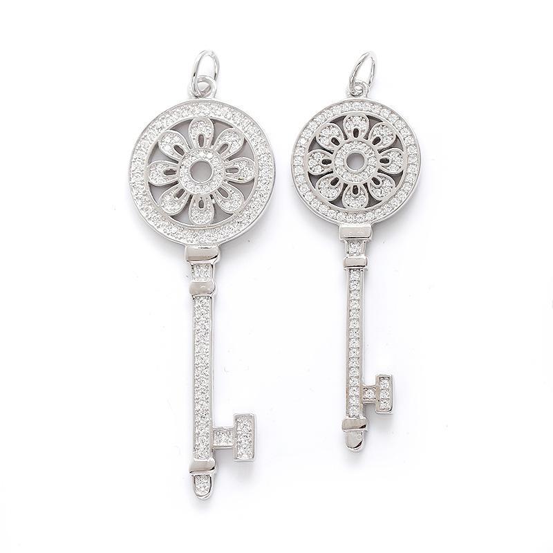 Sterling Silver Keys Collar pendiente de la llave pétalos S925 con diamantes 100% de regalo 925 collares de plata Mejor Valentín para las mujeres