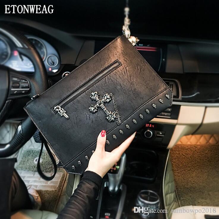 Factory wholesale men handbag street fashion rivet punk handbags personality cross decorative envelope fashion Joker leather clutch bag