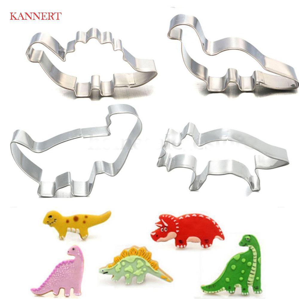 Dinosaurio 4pcs / Set de acero inoxidable Animal torta de la pasta de la galleta cortador de la galleta que adorna Moldes de repostería para hornear