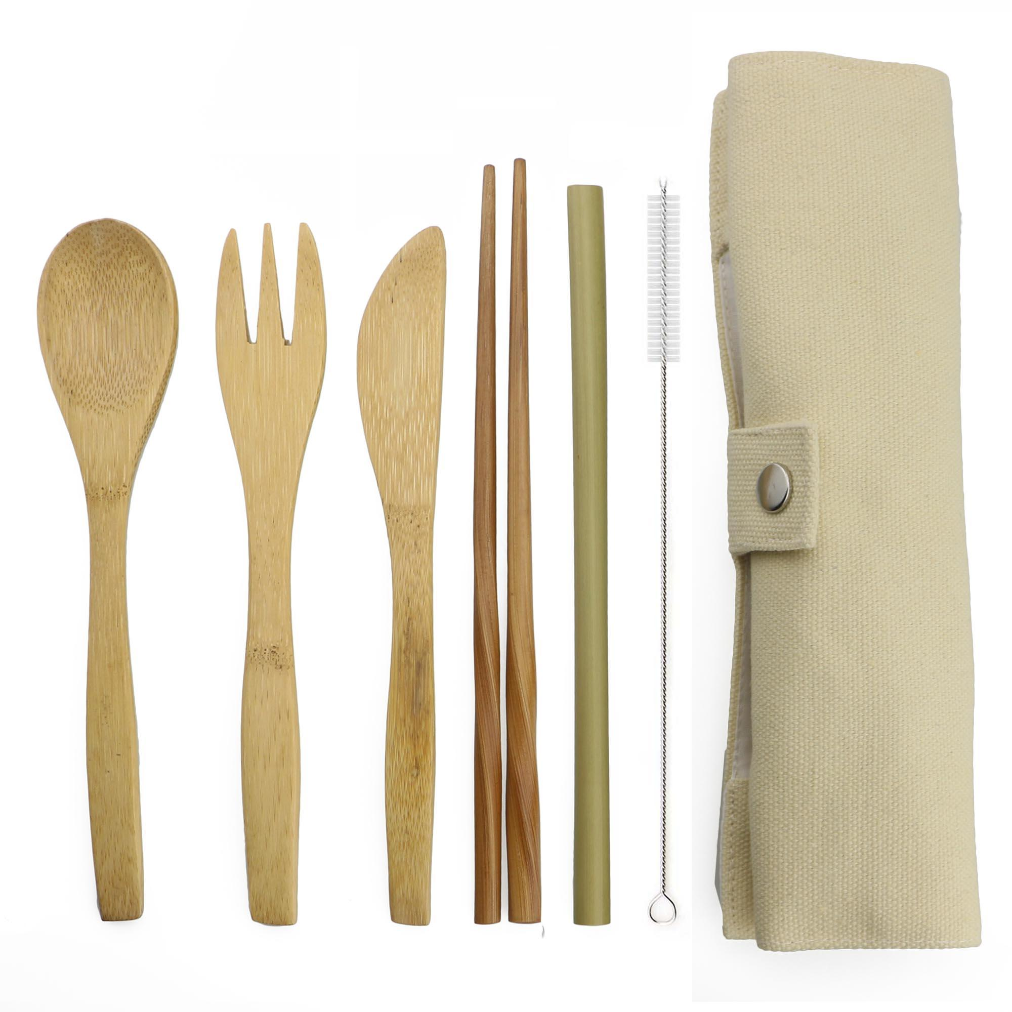 7-Piece Wooden Flatware Cutlery Set Bamboo Straw Set With Cloth Bag Knives Fork Spoon Chopsticks Travel Wholesale