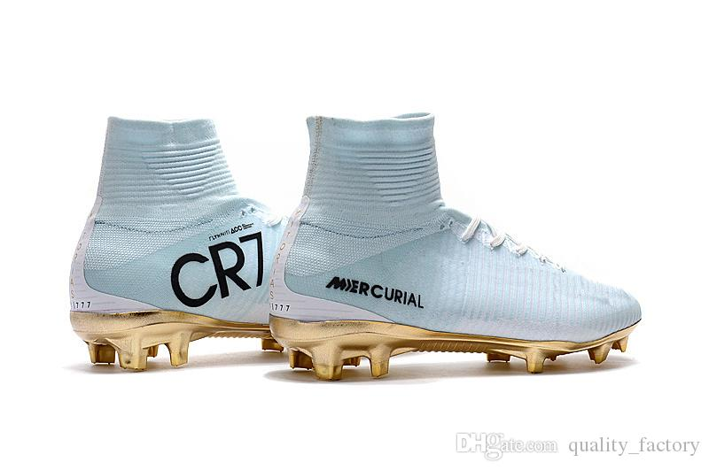 White Gold CR7 Soccer Cleats Mercurial Superfly FG V Kids Soccer Shoes Cristiano Ronaldo Size US3-11