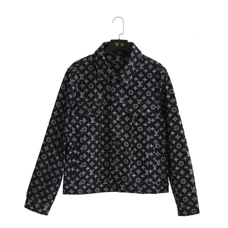 19ss European classic designer retrò casual giacche in denim per donna in pelle pieno lettera stampa laser cappotti risvolto tessuto di alta qualità