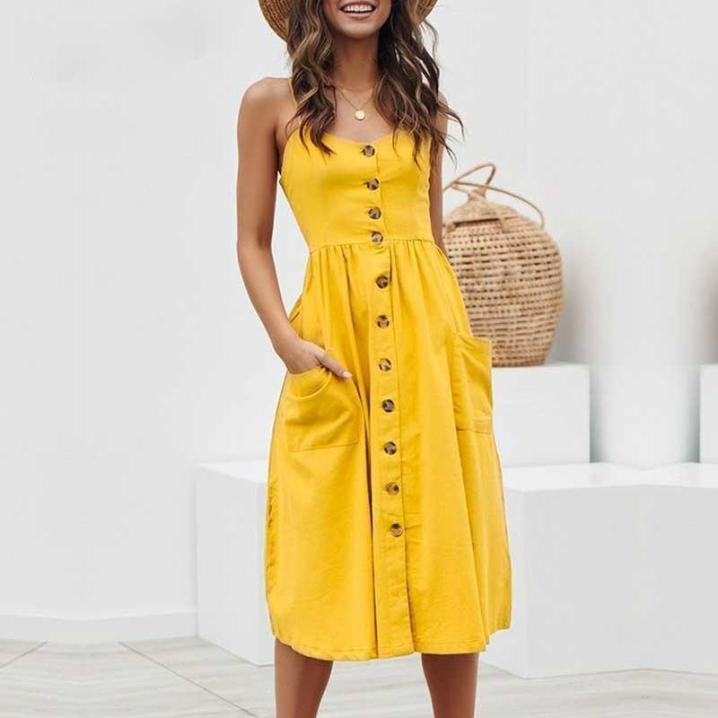 Kadınlar Tasarımcı Giyim Kadın Elbise Şık Düğme Puanl Midi Elbise Yaz Casual Katı Lady Plaj vestidos Tasarımcı Giyim