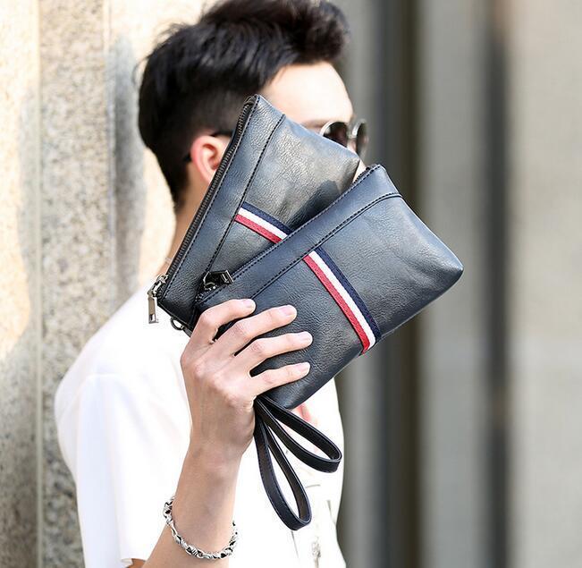 Fabrika satış marka çanta Kore moda renk deri erkek el çantası gündelik erkek erkek cüzdan el çantası spor giyim