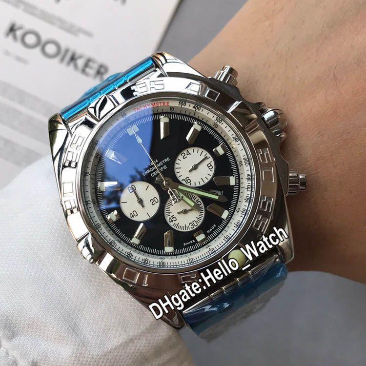 New 44mm Stahlgehäuse Chronograph AB011011.C788 Herrenuhr mit schwarzem Zifferblatt Weiß Subdial Edelstahl-Armband Herren-Uhren Hello_watch