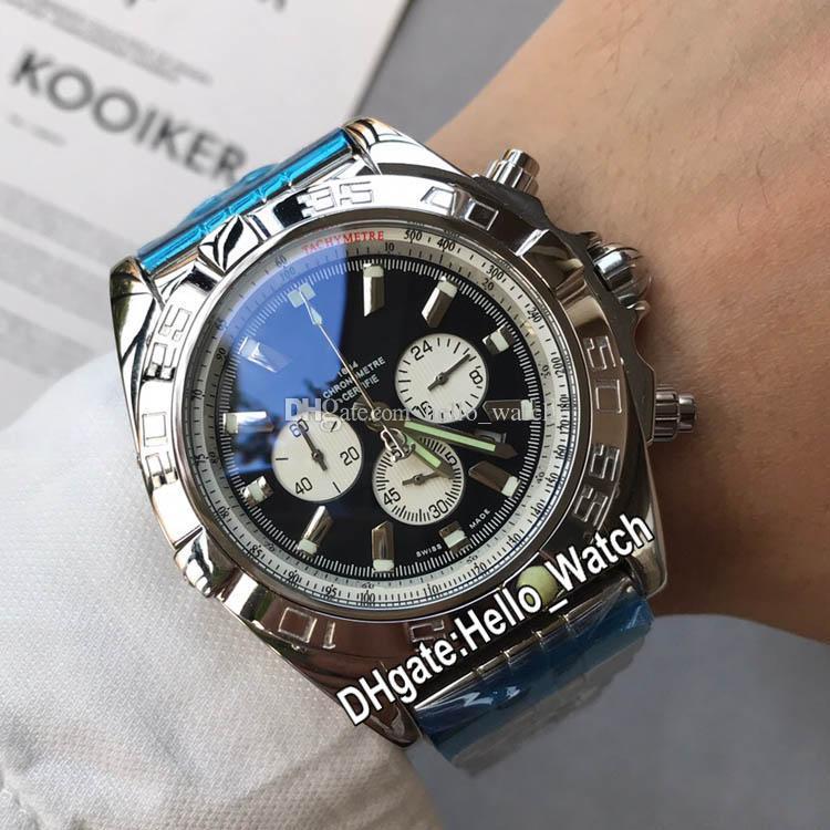 New 44mm Boîtier en acier Chronographe AB011011.C788 Mens Black Watch cadran blanc Subdial Bracelet en acier inoxydable Gents Montres Hello_watch