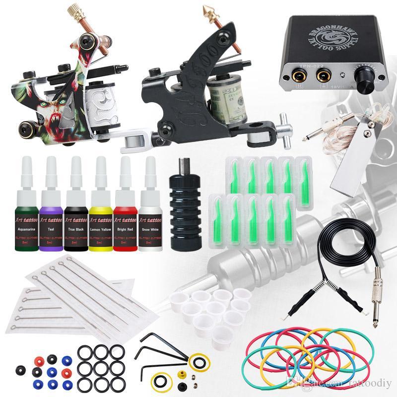 Complete Beginner Tattoo Kit 2 Machines Guns Inks Mini Power Supply Grip Body Tattoo Set D3056