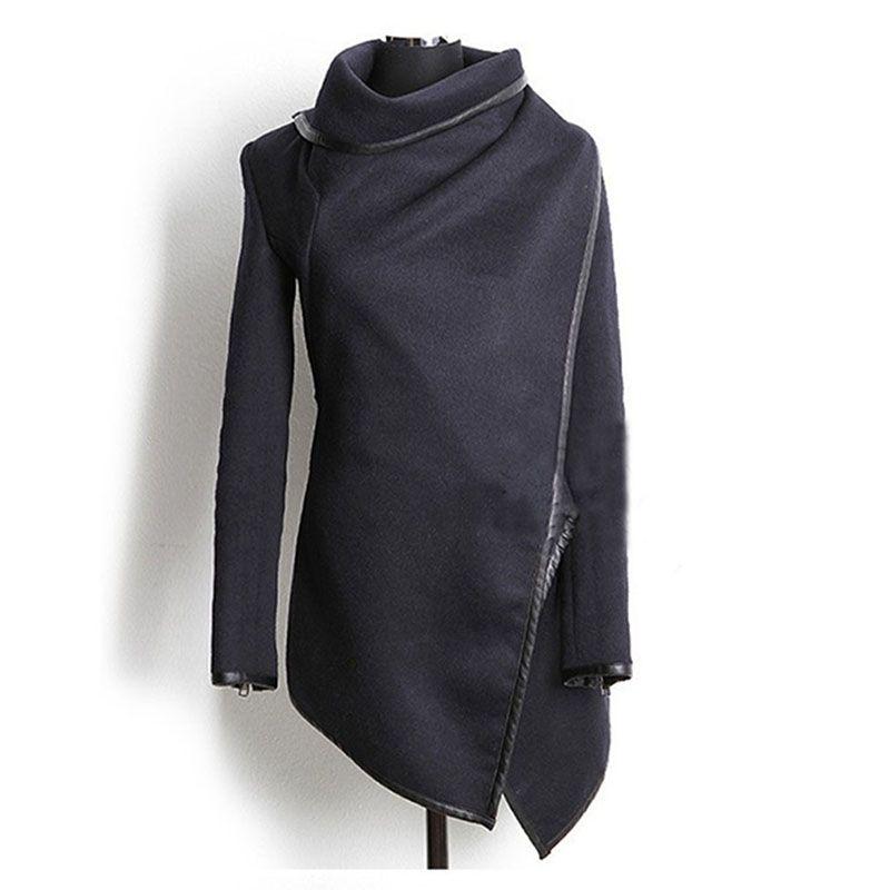 New Arrive Women Irregular Long Cashmere Overcoats Jacket Scarf Collar Solid Coat Female Winter Warm Long Sleeve Overcoat