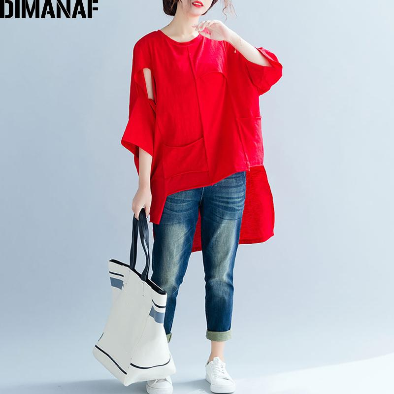 DIMANAF Plus Size Women T-Shirts Basic Lady Tops Tee Female Clothes Solid Spliced Loose Batwing Tunic Shirt Big Size 2019 Summer