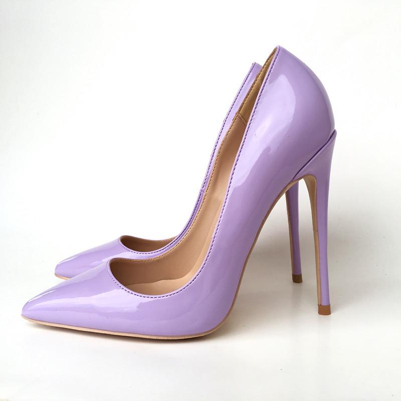 Nuovo lacca viola bel tacco sottolineato scarpe col tacco alto 12CM super-scarpe da donna sexy alla moda tacco alto, su misura 33-45 yards.