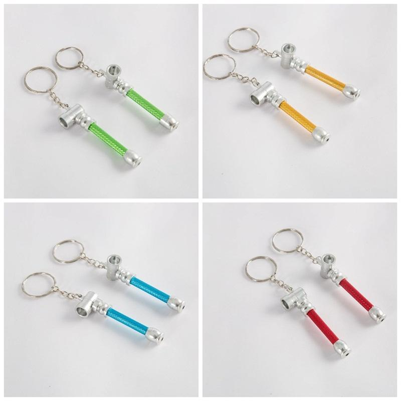 Metal Cigarette Pipe Keyrings Multi Colors Dry Herbal Tobacco Smoking Pipes Keychains Portable Handpipe Key Buckle High Quality 1 1zw E19