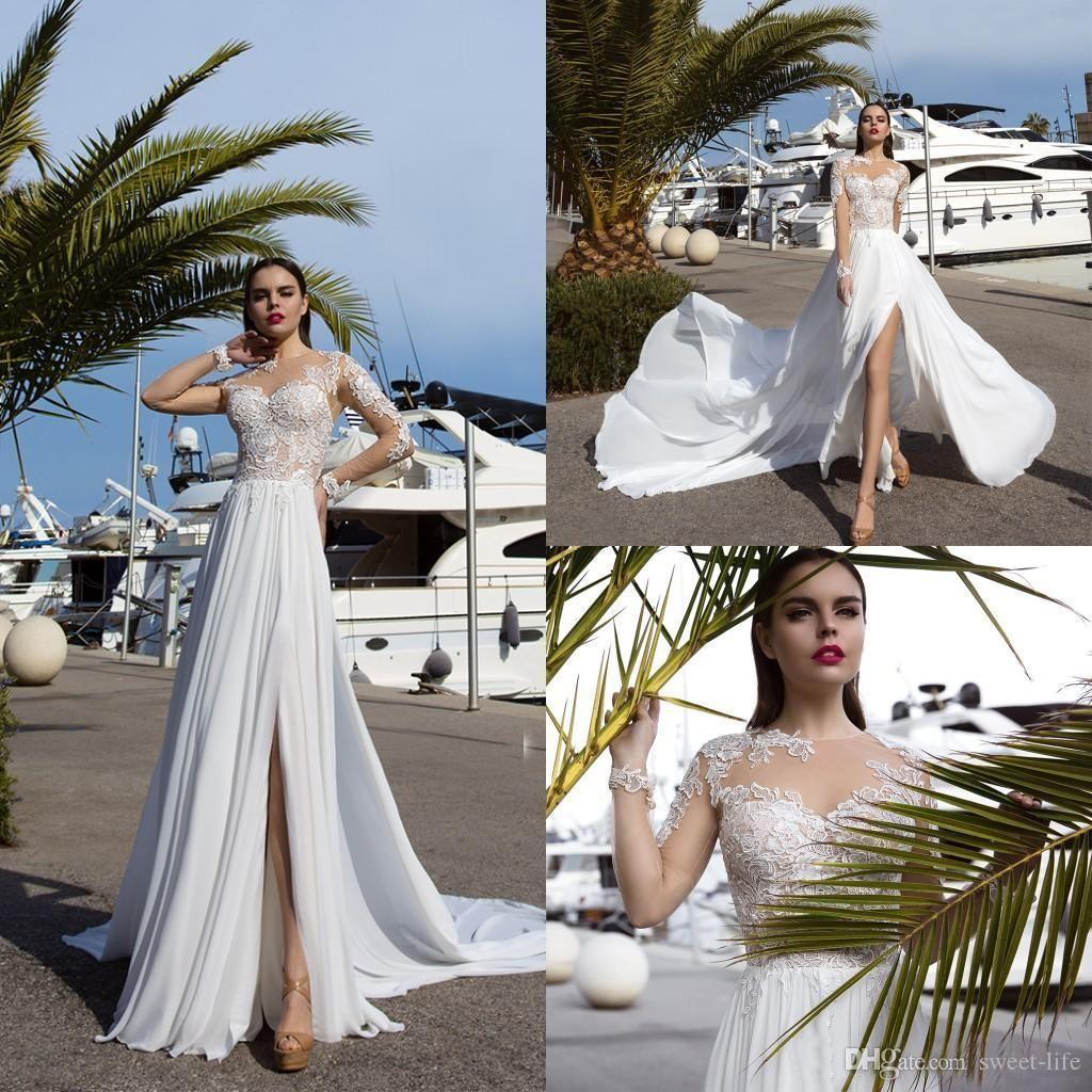 2019 nueva llegada Sheer playa del cuello de vestidos de novia de encaje apliques de manga larga de lado alto de Split boda vestidos de novia de la boda robe de mariée