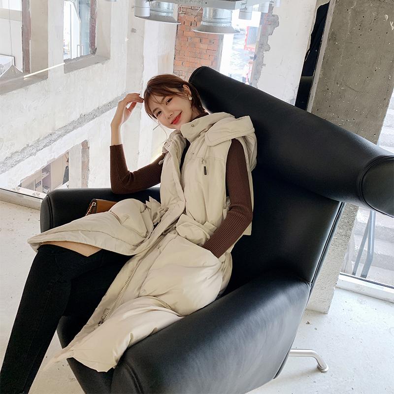 Coreano Inverno Grande Tamanho quente moletom com cintura alta com cordão Pockets longo Parkas Coletes Coats Mulheres Moda de Nova Streetwear 2020