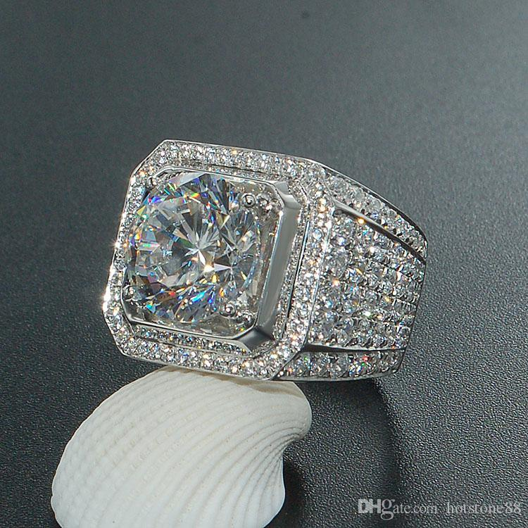 Hotstone88 Stunning Handmade Jewelry 925 Sterling Silver Popular Round Cut White Topaz CZ Diamond Full Gemstones Men Wedding Band Ring Gift