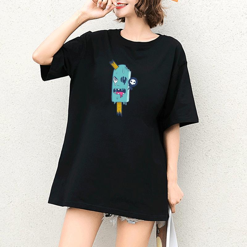 Para mujer diseñadores de camisetas estilo divertido tendencia de la moda de impresión de la personalidad de la universidad de primavera 2020 nuevo estilo de cuello redondo Explosión Camiseta de la marca