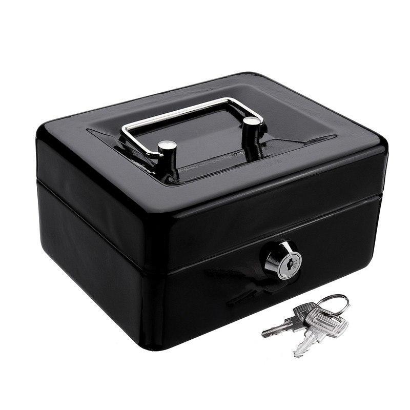 البنك الخنزير البسيطة الأسود معدن الفولاذ المقاوم للصدأ صندوق ودائع آمن للمال عملة صينية النقدية مع سر مفتاح درج النقود حمل صندوق SH190925