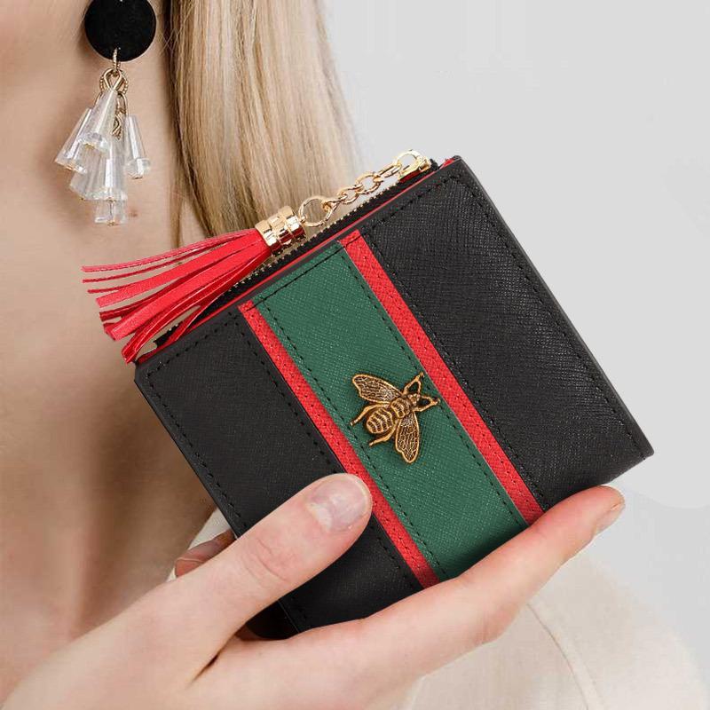 Frauen Geldbörsen Kleine Geldbörse Echtes Leder Kurze Brieftasche Quaste Falten Reißverschlüsse Weibliche Marke Brieftasche Haushälterin Slim Münze Geldbörse