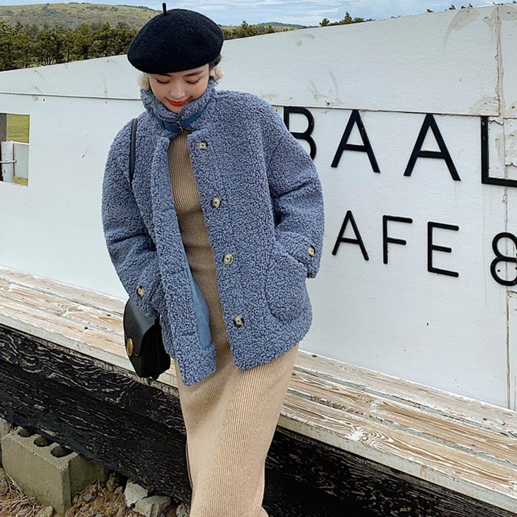 Moda Kadınlar Palto Gevşek Vintage Coat Cep Ceket Sonbahar Kış Sıcak Fermuar Yaka Yumuşak Dış Giyim neps bontjas T191121 Standı