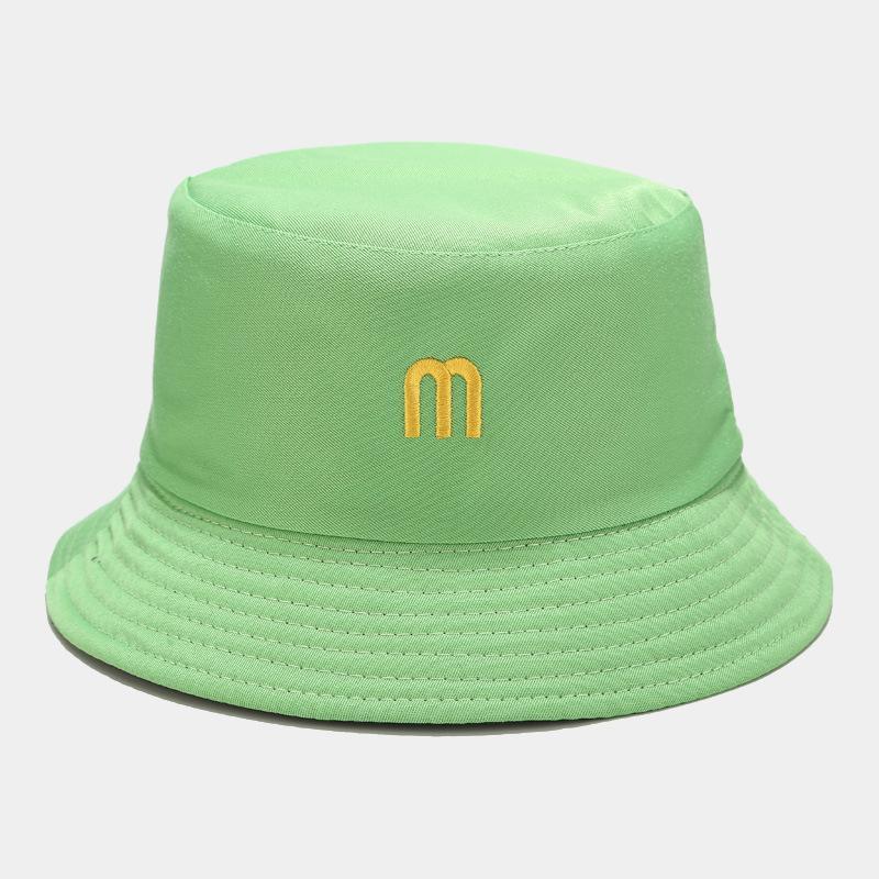 2020 단색 파나마 통 일 모자 캡 이중면 여름 여성 문자 놓은면 물통 모자 어부의 모자