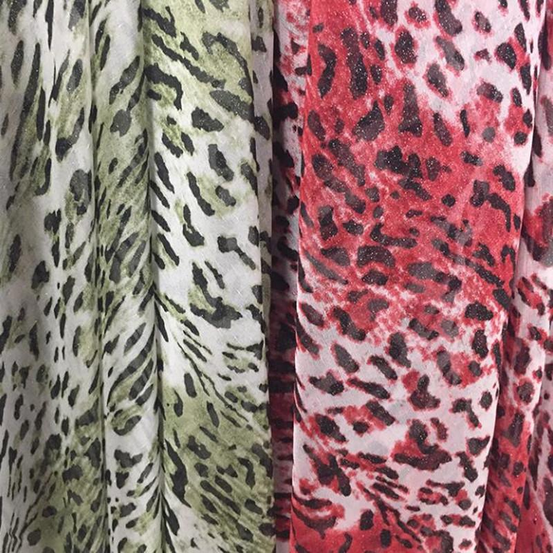 wholesale 2color animal Leopard print chiffon summer polyester silk fabric clothing dress fabric georgette soft tissu sequin fabric D106