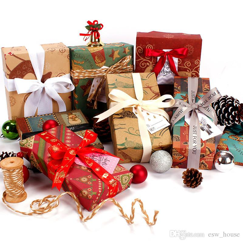 Kağıt Retro Kraft Kağıtlar Hediye Günümüze Ağacı Paketleme Papers Ambalaj Kraft Wrap Kağıt 50 * 70 cm Noel Desen Craft Kağıt Hediye
