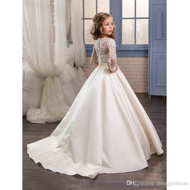 2020 New Dresses for Little Girls Pentelei Cheap with Long Sleeves and Pockets Appliques Satin Ivory Party Flower Girl Dresses