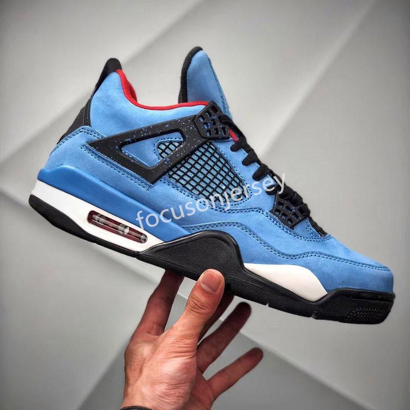 YENİ 4 4s Erkek Basketbol Ayakkabı Travis Scotts neler Cactus Jack Lazer Wings Denim Blue Eminem Soluk Citron Spor Tasarımcı Sneakers Bred
