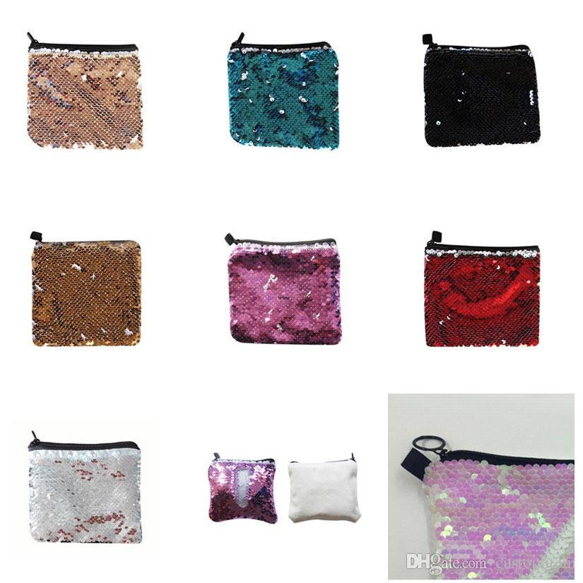 big Promotion sublimation blank sequins coin purses bags hot transfer printing sequins bag consumables 14.5*12.5cm factory price
