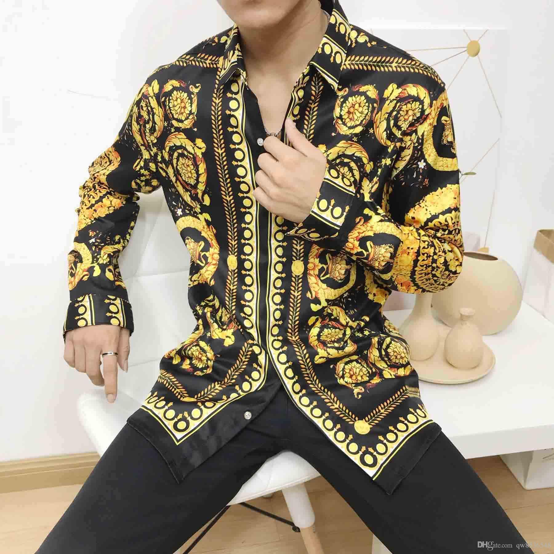 2020 Men's Shirt French Street Fashion Harajuku Casual Shirt Men's Mixed Color Embroidered Medusa Black Golden Leopard Print Leopard