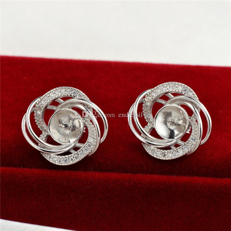 Earring Settings Blank Base Twine 925 Sterling Silver Cubic Zirconia Mountings Jewellery Findings for Pearl Party