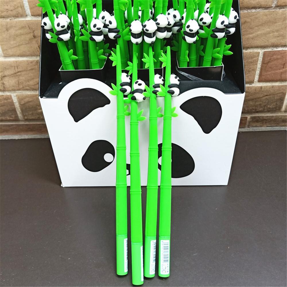 48 peças / set miúdos bonitos panda canetas animal do apaziguador do esforço caneta apagável Gel Pen estacionária