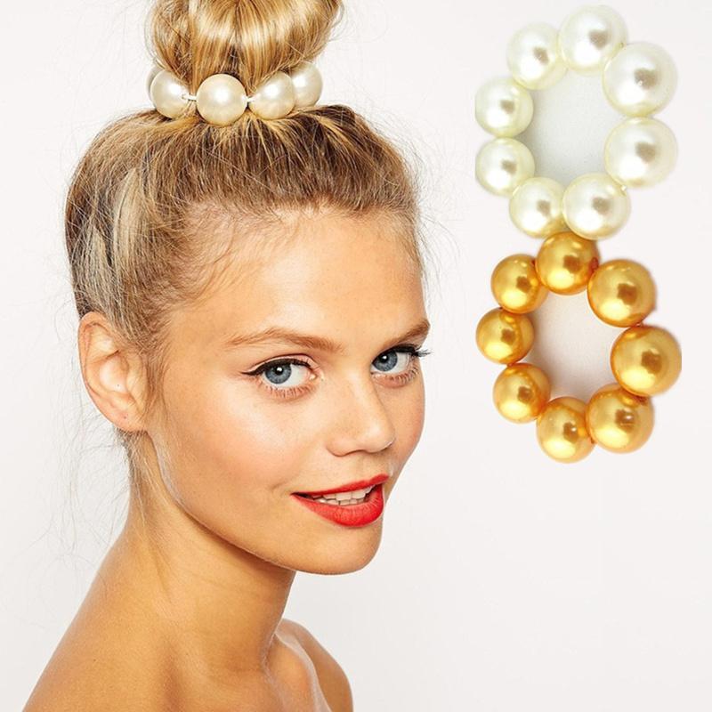 مجوهرات اللؤلؤ الأزياء Hairbands مطاطا المرأة اكسسوارات أغطية الرأس حبل سيدة الشعر سلسلة بنات التصميم براق أشرطة الشعر