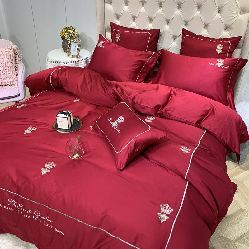 Quilt Cover caldo puro cotone da ricamo cinese Troditional Wedding Red Bedding Set di trasporto 1.8m nuova coppia Bedding articolo