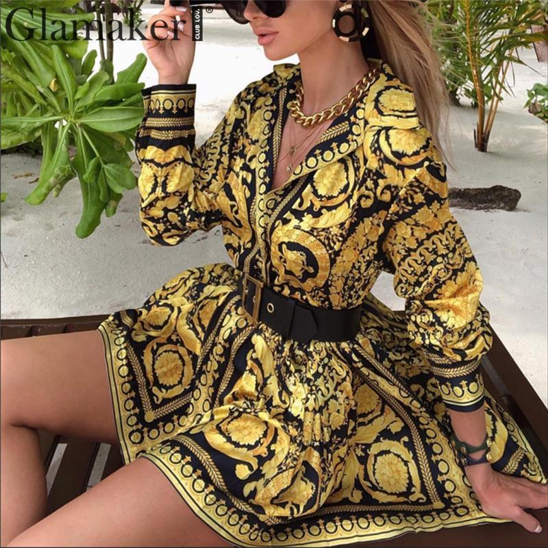 Sexy paisley vintage print gold dress Women holiday beach casual dress Summer elegant short party club large size