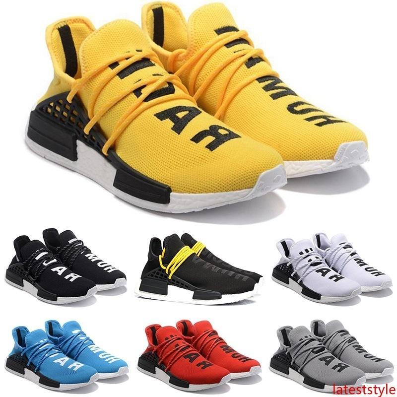 Race humaine Chaussures de course Hommes Femmes Pharrell Williams HU Runner Jaune Noir Blanc Rouge Gris Bleu Cheap Sports Athlétiques Sneakers Taille 5.5-12