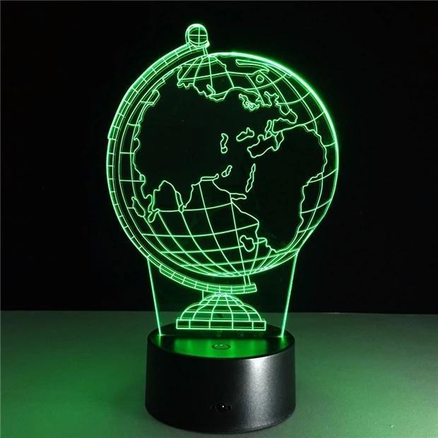 3d Illusion Creative Decorative Night Lamp Earth Globe Diy Atmosphere Led Bulbs Usb Holiday Night Light With 7 Colors Jk0102